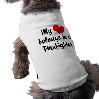 My Heart Belongs To A Firefighter Sleeveless Dog Shirt