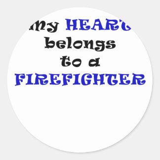 My Heart Belongs to a Firefighter Sticker