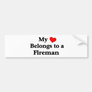 My heart belongs to a fireman bumper sticker