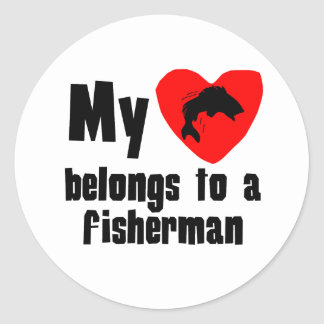 My Heart Belongs To A Fisherman Round Stickers