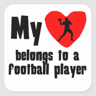 My Heart Belongs To A Football Player Stickers