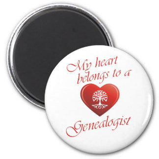 My Heart Belongs To A Genealogist 6 Cm Round Magnet