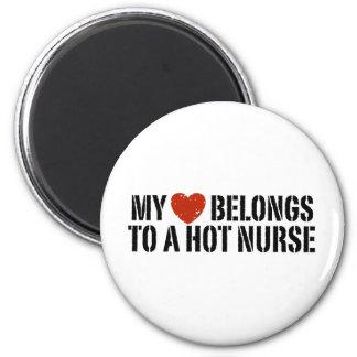 My Heart Belongs to a Hot Nurse 6 Cm Round Magnet
