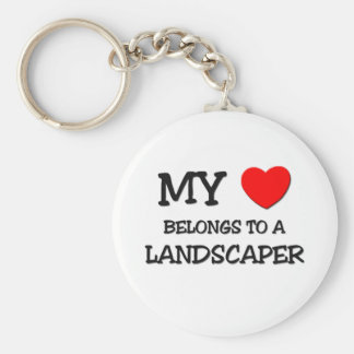 My Heart Belongs To A LANDSCAPER Basic Round Button Key Ring