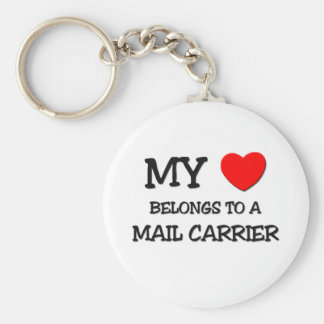 My Heart Belongs To A MAIL CARRIER Basic Round Button Key Ring