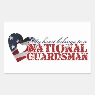 My heart belongs to a National Guardsman Rectangular Sticker