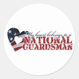 My heart belongs to a National Guardsman Round Sticker