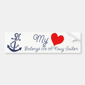 My Heart Belongs To A Navy Sailor Bumper Sticker