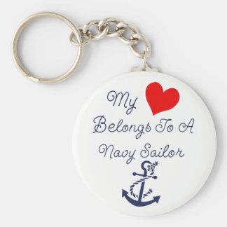My Heart belongs to a Navy Sailor Key Ring