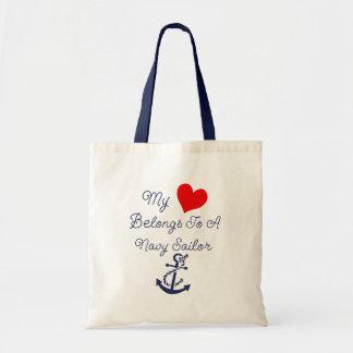 My Heart Belongs To A Navy Sailor Tote Bag