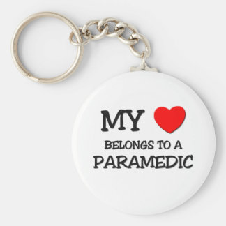 My Heart Belongs To A PARAMEDIC Basic Round Button Key Ring