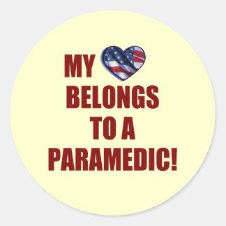 My Heart Belongs to a Paramedic Round Sticker