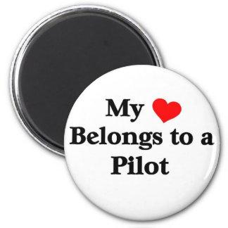 My heart belongs to a Pilot 6 Cm Round Magnet