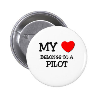 My Heart Belongs To A PILOT 6 Cm Round Badge