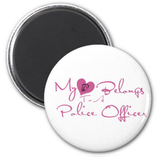 My Heart Belongs to a Police Officer 6 Cm Round Magnet