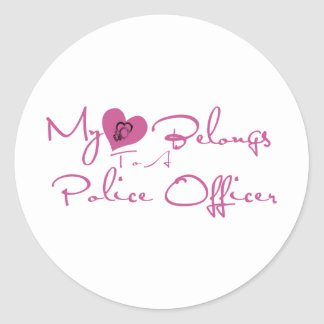 My Heart Belongs to a Police Officer Round Sticker