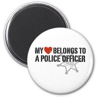 My Heart Belongs to a Policeman 6 Cm Round Magnet