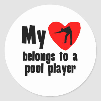 My Heart Belongs To A Pool Player Stickers
