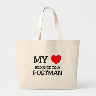 My Heart Belongs To A POSTMAN Large Tote Bag