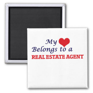 My heart belongs to a Real Estate Agent Square Magnet