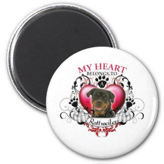 My Heart Belongs to a Rottweiler 6 Cm Round Magnet