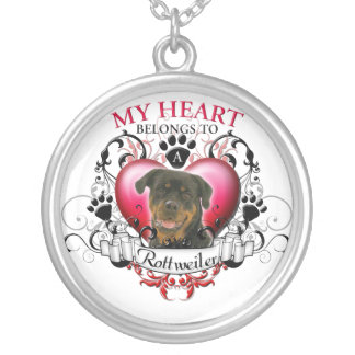 My Heart Belongs to a Rottweiler Silver Plated Necklace