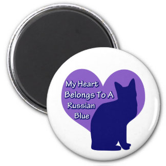 My Heart Belongs to a Russian Blue 6 Cm Round Magnet