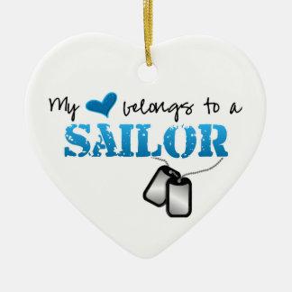My heart belongs to a Sailor Christmas Ornament