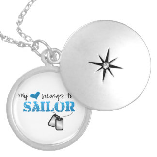 My Heart Belongs To A Sailor Round Locket Necklace