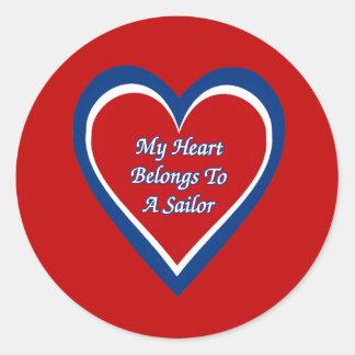 My Heart Belongs to a Sailor Round Sticker