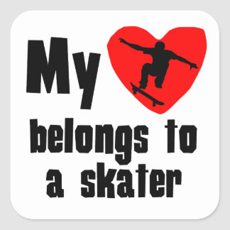 My Heart Belongs To A Skater Square Stickers