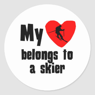 My Heart Belongs To A Skier Round Stickers