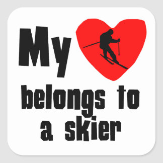 My Heart Belongs To A Skier Square Stickers