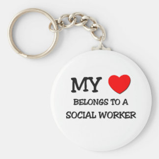 My Heart Belongs To A SOCIAL WORKER Basic Round Button Key Ring