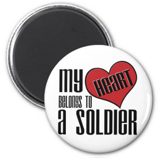 My Heart Belongs To A Soldier 6 Cm Round Magnet
