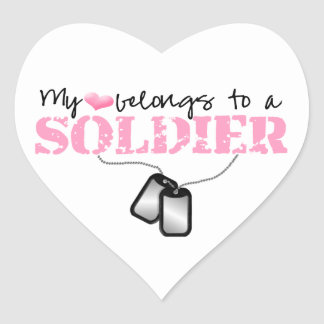 My Heart Belongs To A Soldier Heart Sticker