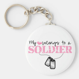My Heart Belongs To A Soldier Key Ring