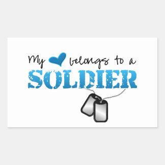 My Heart Belongs To A Soldier Rectangular Sticker