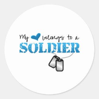 My Heart Belongs To A Soldier Round Sticker