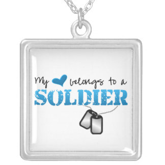 My Heart Belongs To A Soldier Silver Plated Necklace