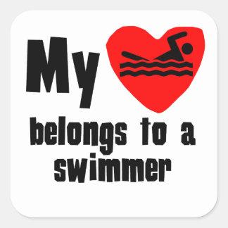 My Heart Belongs To A Swimmer Sticker
