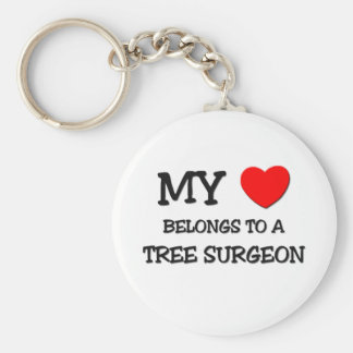 My Heart Belongs To A TREE SURGEON Basic Round Button Key Ring