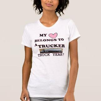 My Heart Belongs To A Trucker T Shirt