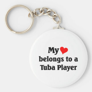 My heart belongs to a tuba player basic round button key ring