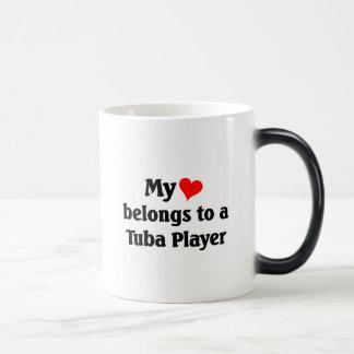 My heart belongs to a tuba player magic mug
