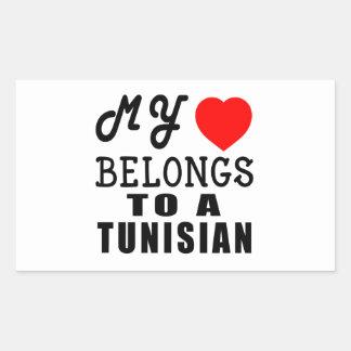 My Heart Belongs To A Tunisian Rectangular Sticker