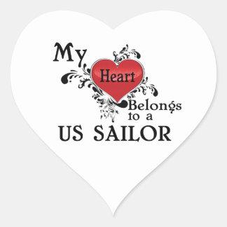 My Heart Belongs to a US Sailor Heart Sticker