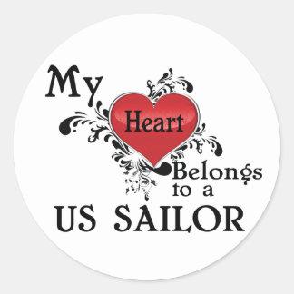 My Heart Belongs to a US Sailor Round Sticker
