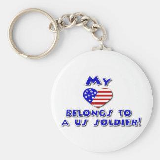 My heart belongs to a US Soldier keychain