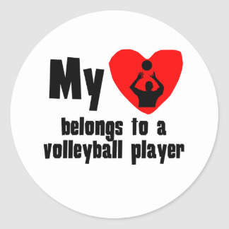 My Heart Belongs To A Volleyball Player Round Stickers